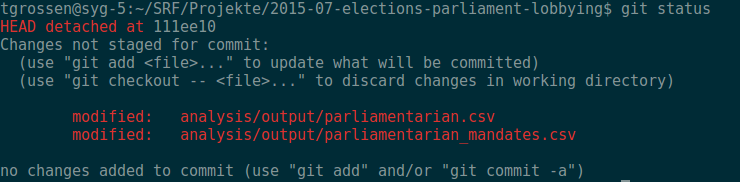 The output of git status, showing two changed files.
